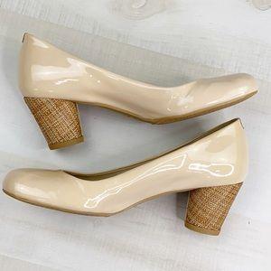STUART WEITZMAN  Patent Nude Pump Linen Heel